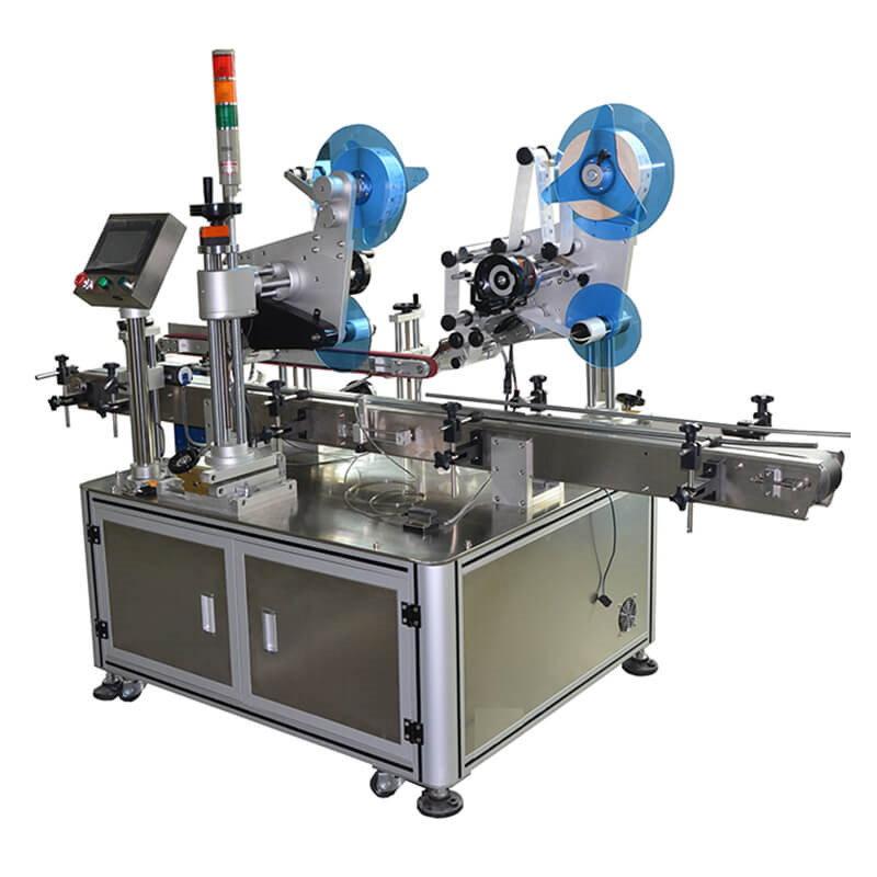 Doubel corner folding labeling machine for carton box anti-counterfeit labeling system