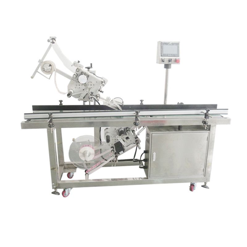 Auto top bottom labeling machine two side up down flat labeling equipment card paper box automatic labeller system