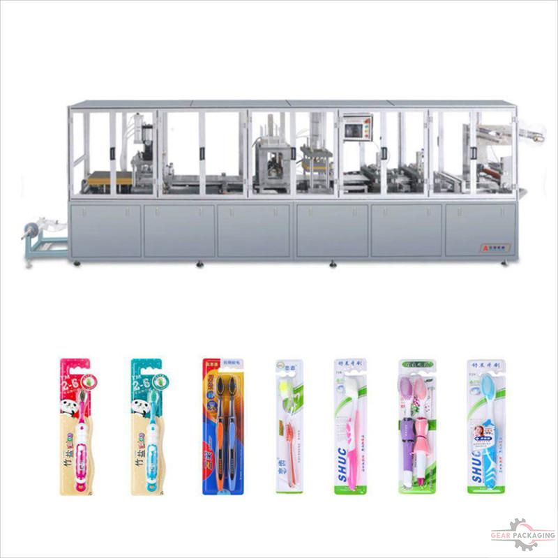 Automatic toothbrush paper plastic packaging machine toothbrush blister tray forming paper card sealing packing machine toothbrush packing line