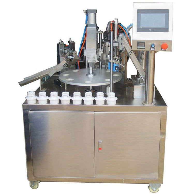 Semi automatic rotary soft plastic tube single nozzle filling heat sealing machine