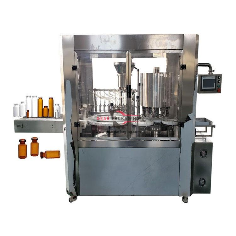 Automatic oral glass vial bottle liquid filling ROPP sealing pharmaceutical packing line